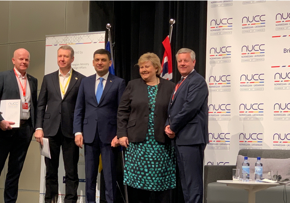 The cooperation agreement was signed under Norwegian Ukrainian Business Forum 2019 at OsloMet 28. January 2019 from left Harald Jellum, Chairman and founder, AISPOT, Oleg Boiaryn, Chairman, Atoll Holding, Volodymyr Groysman, Primeminister in Ukraine, Erna Solberg, Primeminister in Norway and Per Arne Friestad, CEO, AISPOT